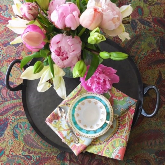 TrixiePix - peonies and tea for one