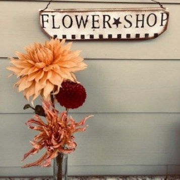 Flower Shop Sign with Dahlias