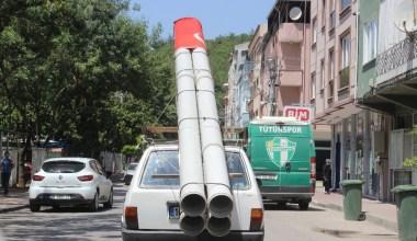 (Özel) Aracına monte ettiği 'S-400'lerle şehir turu attı