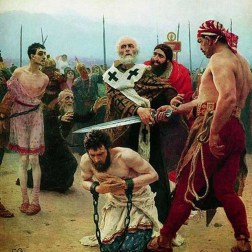 Myralı Aziz Nikolaos Üç Masumu Ölümden Kurtarıyor (Ilya Repin'in yağlı boya tablosu, 1888, Rus Devlet Müzesi). / St. Nicholas of Myra, protecting three innocent from death (Oil- Canvas painting by IlyaRepin, 1888, Russian State Museum).