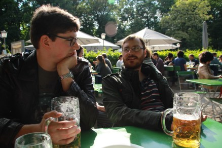 Till, Constantin and beer in the beer garden at the Chinese tower