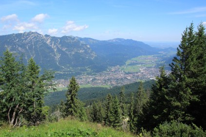 An arial view of Garmisch-Partenkirchen from Kreuzjoch