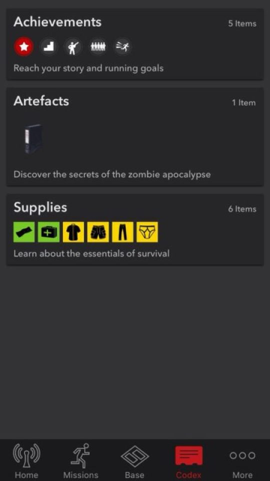 Zombies, Run items