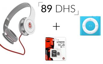 Casque Beats + Carte mémoire 4Go + Lecteur MP3 IPOD Shuffle à seulement 89 DH