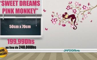 Magnifique sticker pour enfants «SWEET DREAMS PINK MONKEY»