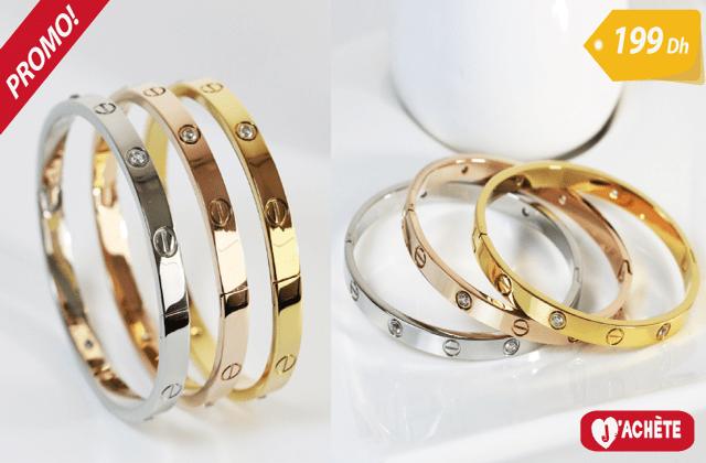 3 Bracelets de luxe en plaqué Or/platine