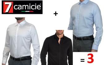 Marque 7 Camicie PACK DE 3 CHEMISE HOMME (NOIR,BLANC,BLEU CIEL)