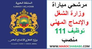 مرشحي مباراة وزارة الشغل والإدماج المهني توظيف 111 منصب
