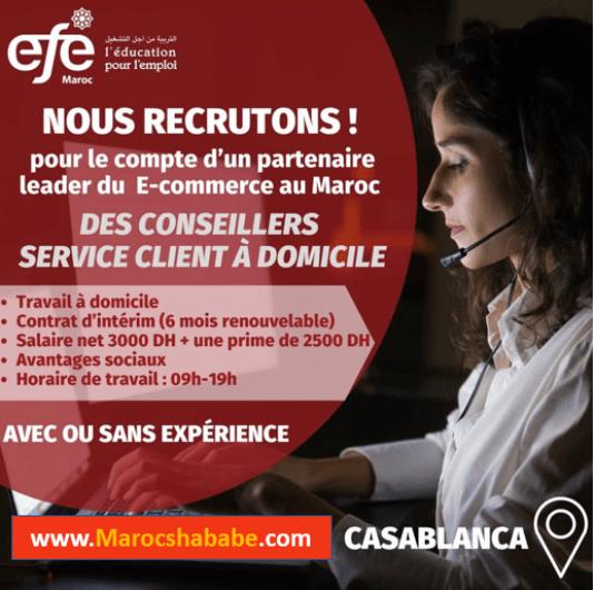 EFE Maroc recrute des Conseillers Service Client à Domicile