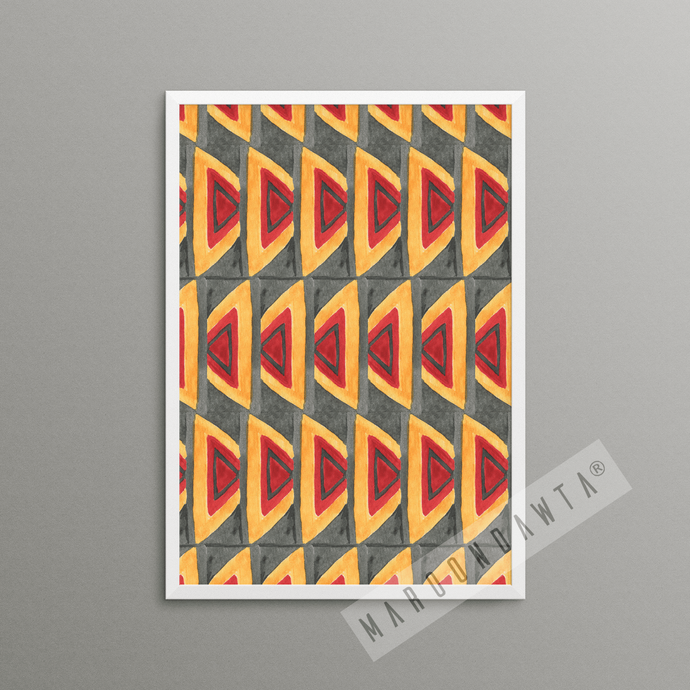 Grey and Orange Yellow African Inspired Pattern Print Watercolour Poster [A4 SIZE ONLY]