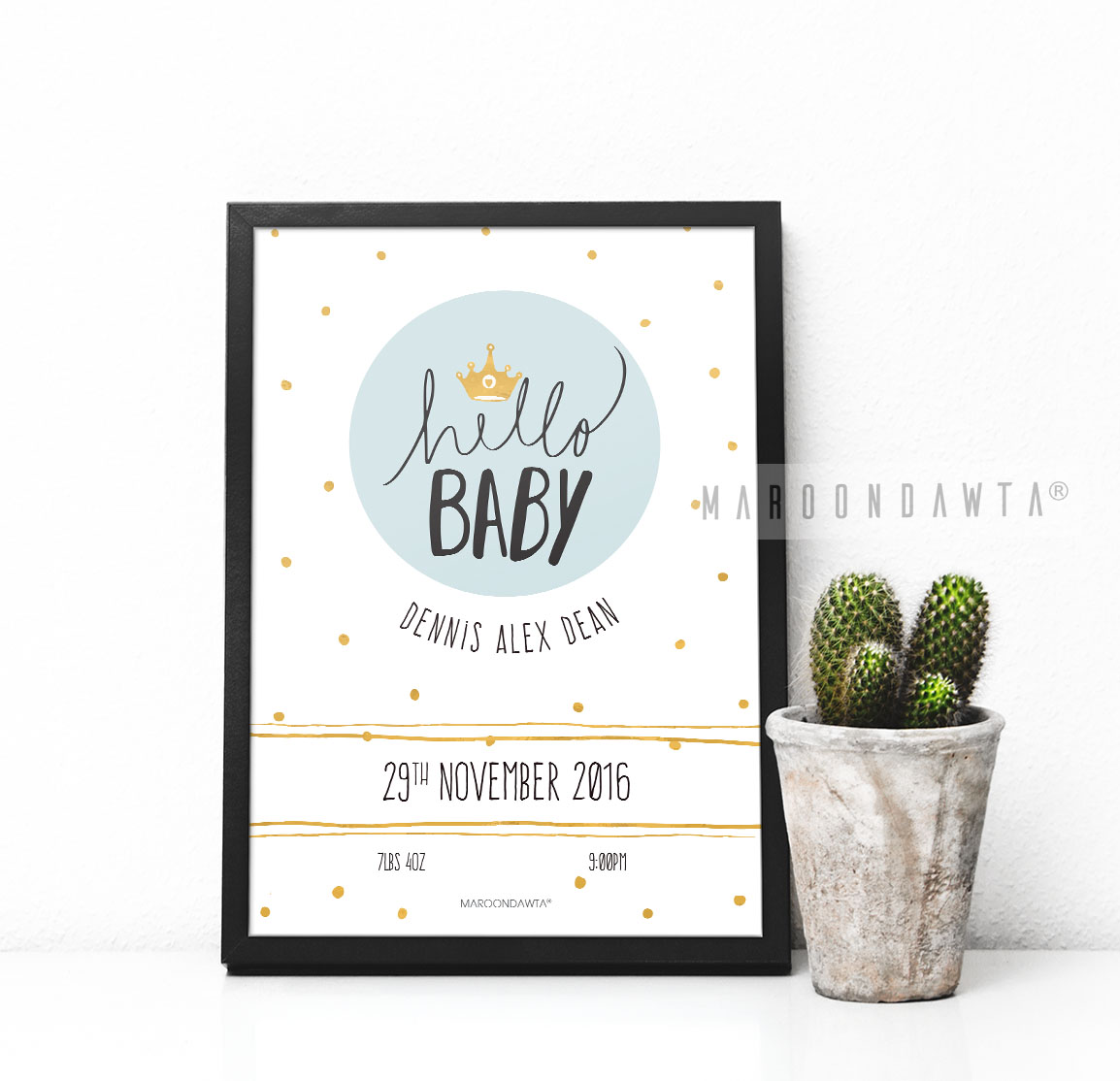 "Personalised ""Hello Baby"" Nursery Decor A4 UNFRAMED Print"
