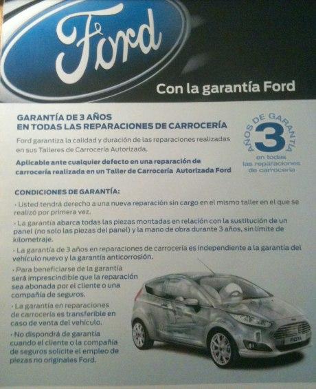 Garantía en el taller de Carrocería Autorizada Ford en Cullera