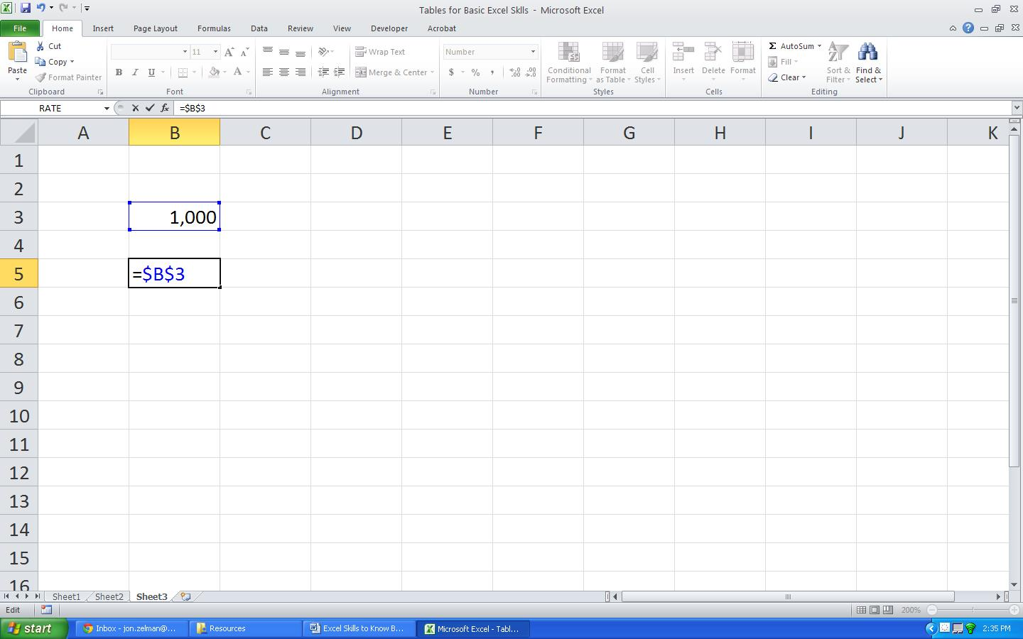 Creating Absolute References And Locking Cells In Excel