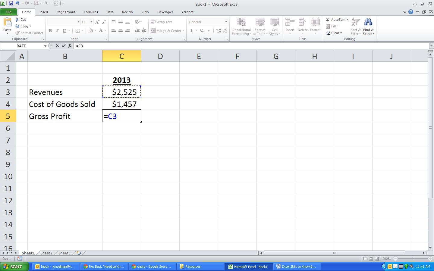 Creating A Basic Formula In Excel