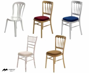 Image of selection of give types of chairs offered by Marquees for Hire