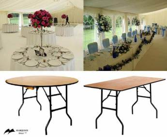Image of round and rectangle tables for hire and images of tables dressed 'in situ' for wedding and party events