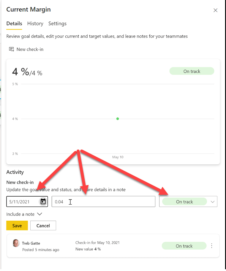 Filling out the check-in fields