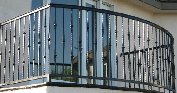 Balcony Stair Railings Decorative Wrought Iron Orange County | Craftsman Style Exterior Stair Railings | Step | Black Iron | Fence | Craftsman House | Outdoor