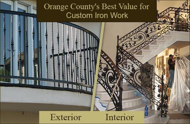 Iron Entry Doors Fences Gates Stair Railings Orange County | Exterior Iron Stair Railing | Temporary | Front Step | Aluminum | Front Entrance | Fancy