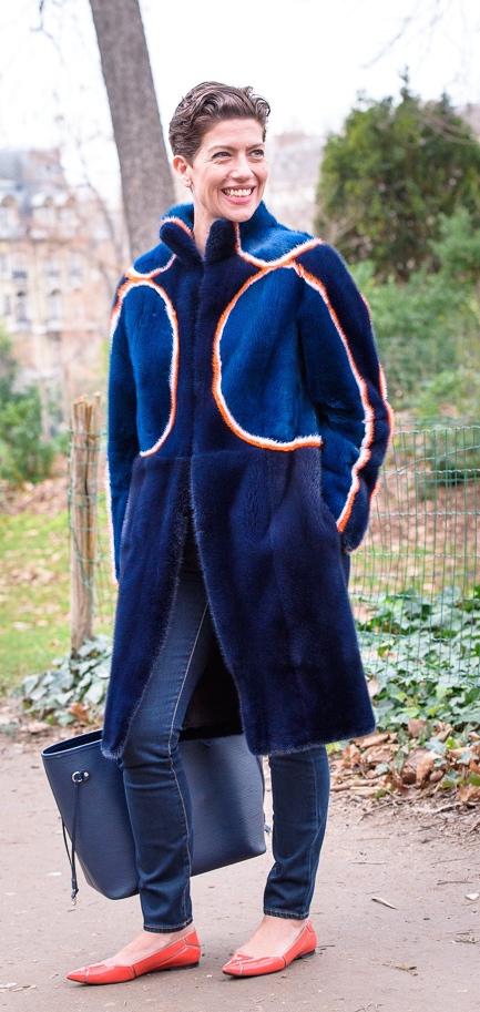 Manteau Fourrure Fendi Bleu