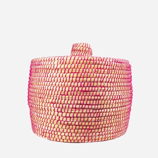 Pink opbevaringskurv i flet