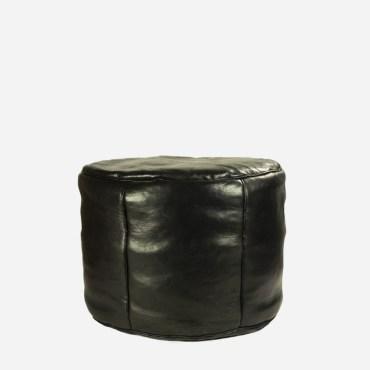 Puf – Sort læder – 30 cm høj