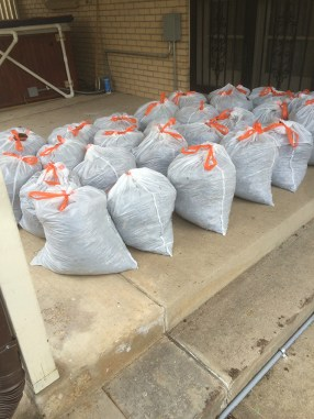 Mulch in bags upon bags.