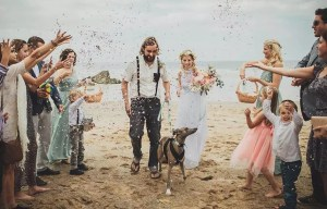 Wedding couple with greyhound 850 by 558