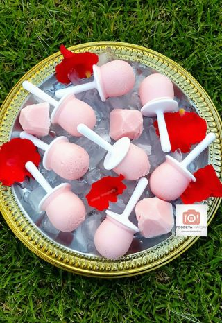 Rose and Strawberry Milkshake Ice Lollies