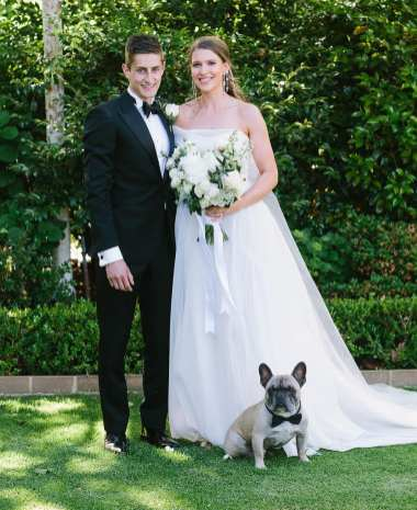 Mr and Mrs with their french bulldog