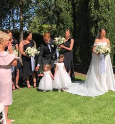 Bride with siblings in bridal party