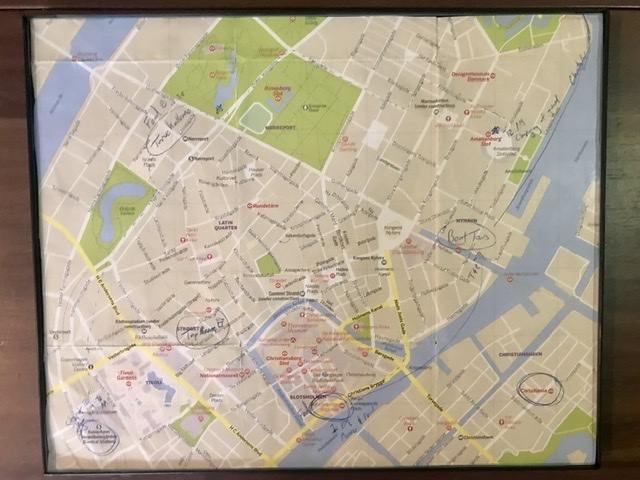Tim and Kara's souvenir maps from travels together.