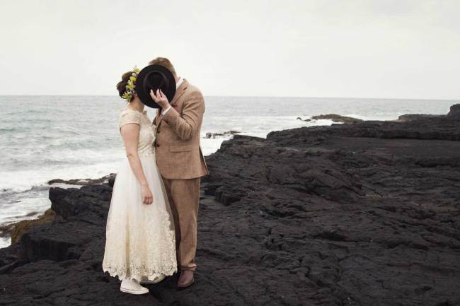 Kiss on black beach in Iceland