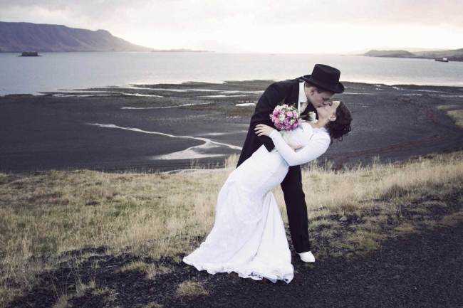 Kiss in beautiful landscape in Iceland