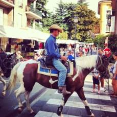 cowboys moseying through town
