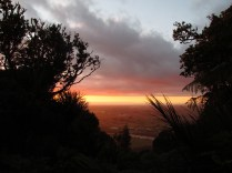 Southern Lookout at sunrise. Overlooking Waikato River and city of Hamilton.