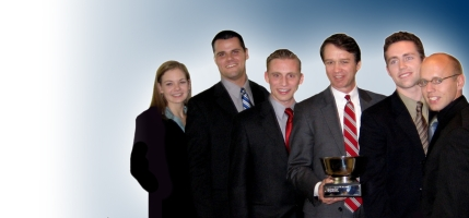From Left: Meg Casper, Kodiak Smith, Aaron Zimbelman, Reed Maughan (PwC Mentor), Brian Hunt and Jed Eastman.
