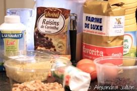 Cake chèvre, noix et raisins