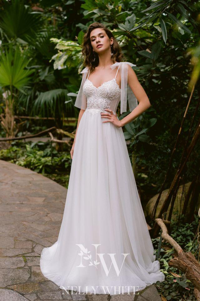 Brautkleid verspielt Schleife Tüllrock