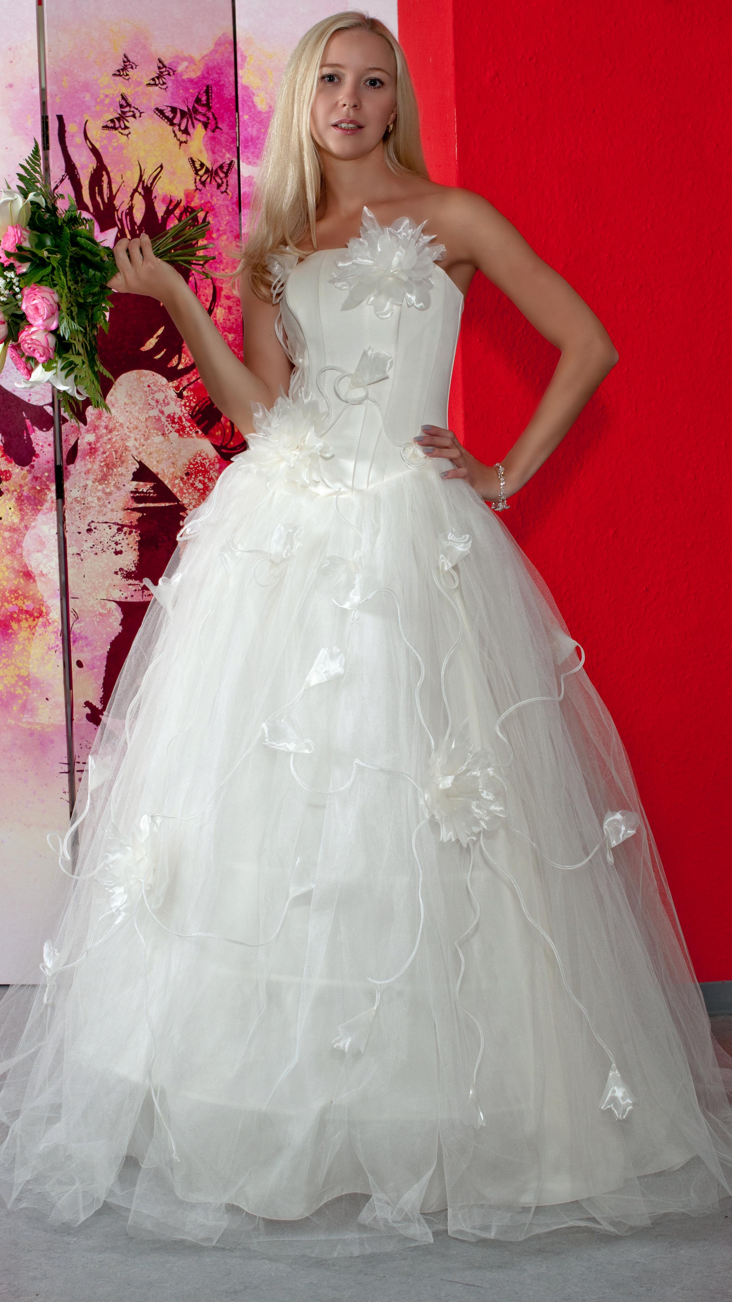 Prinzessin Brautkleid mit A-Linie ohne Träger