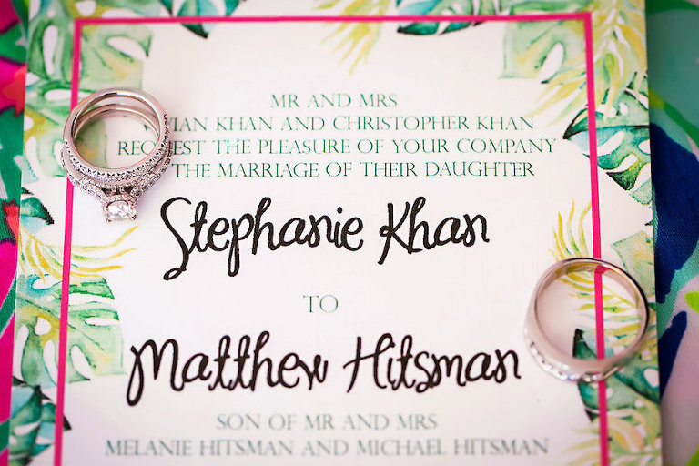 Tropical Wedding Invitation With Palm Accents And Pink Green Detail Sarasota Photographer Limelight