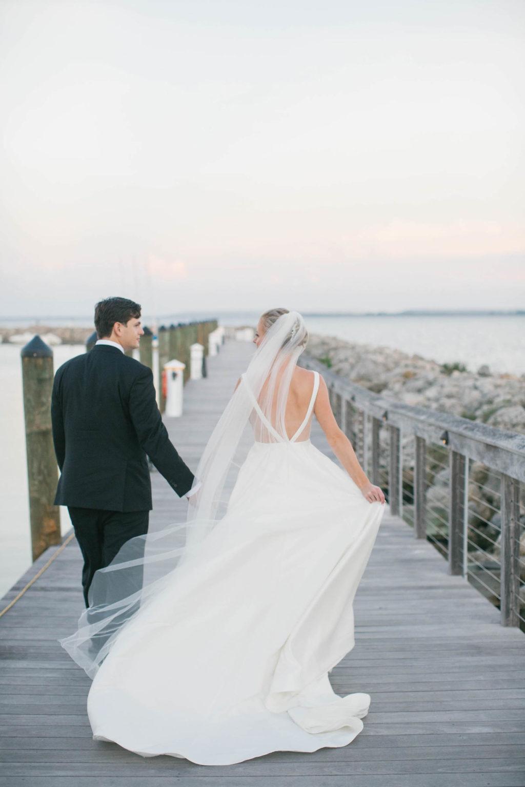 Bride and Groom Veil Shot Wedding Portrait | Bride in BHLDN Illusion Back Wedding Dress Ballgown | South Tampa Wedding Photos