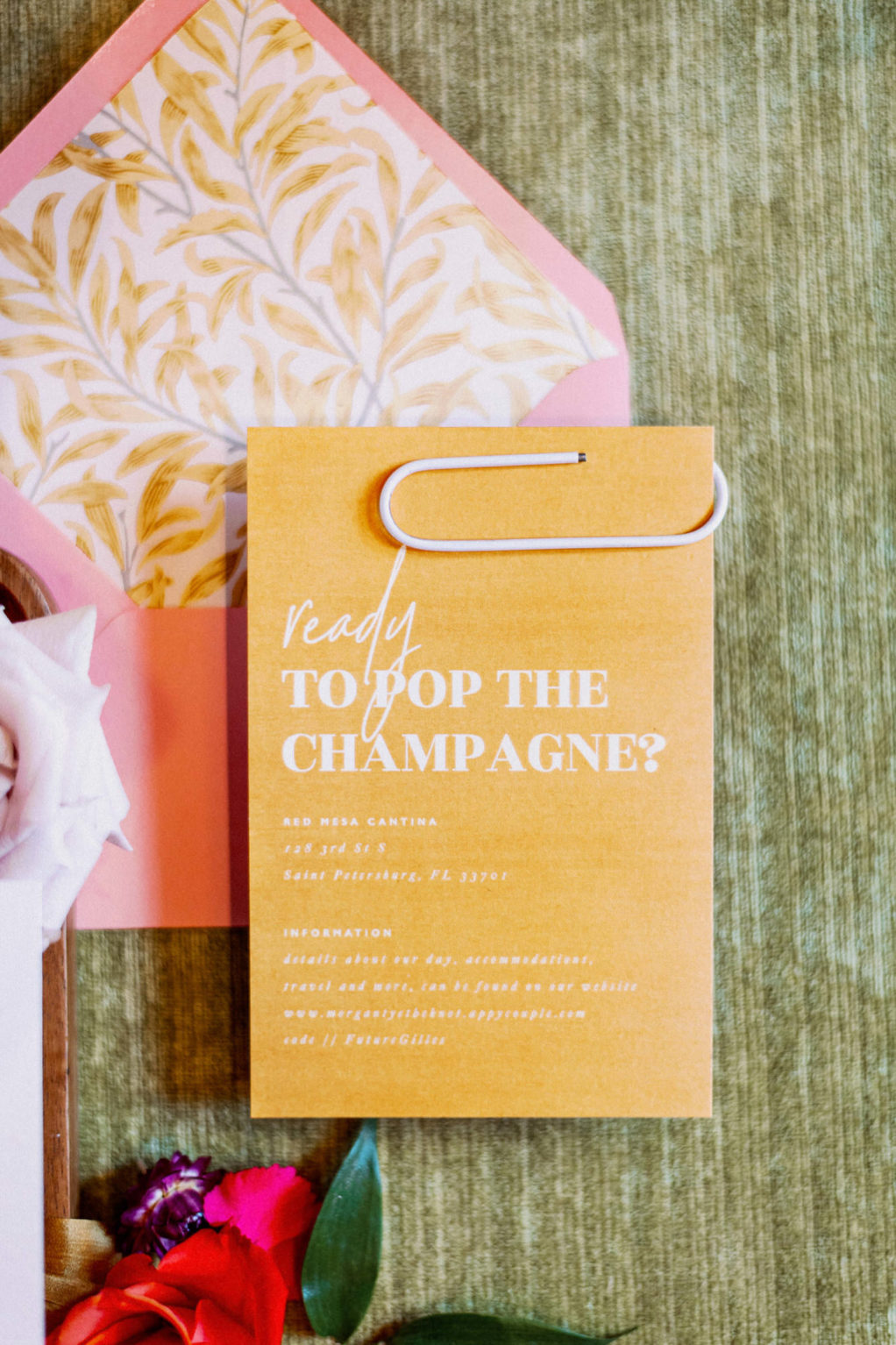"""Whimsical Colorful Pink Envelope with Floral Liner and Orange """"Ready to Pop the Champagne"""" Modern Wedding Invitation Suite   Tampa Bay Wedding Photographer Dewitt for Love"""