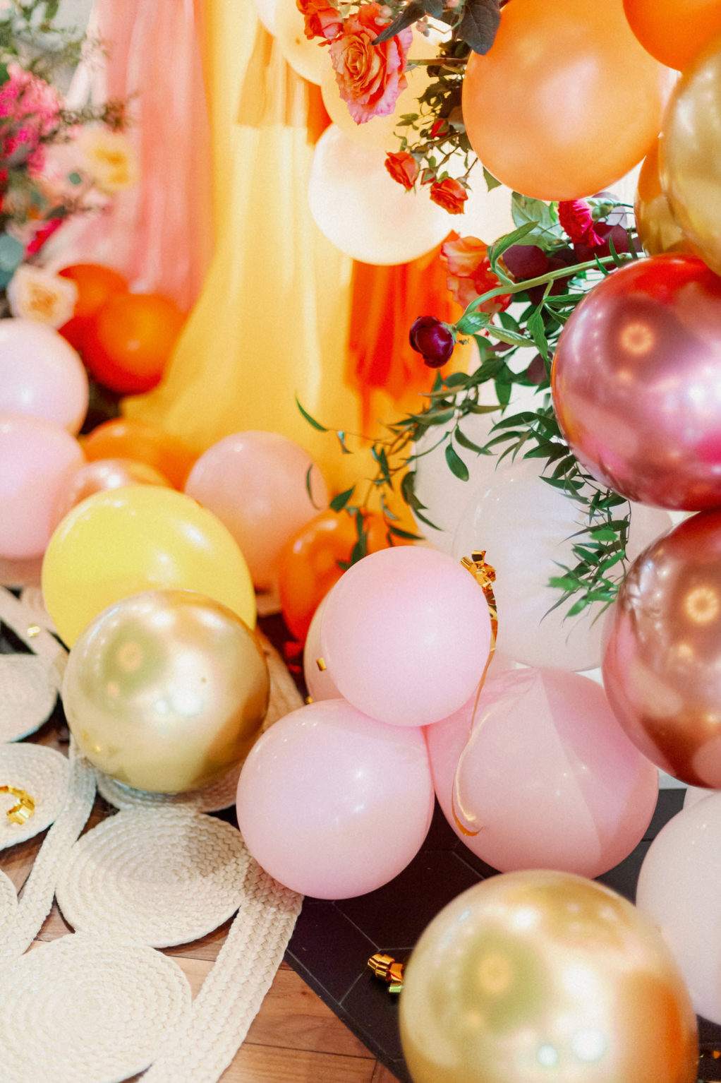 Whimsical and Colorful Wedding Decor, Pink, Rose Gold, Yellow Gold, Yellow, Orange Balloon Ceremony Backdrop   Tampa Bay Wedding Photographer Dewitt for Love