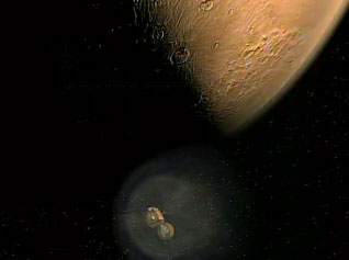 This is a still image from an animation of Mars Reconnaissance Orbiter conducting aerobraking around Mars.  The background is the black of space with small white stars.  The top of the image shows the bottom half of a dusty orange Mars, part of it lit by sun and part in darkness.  Below the planet is the orbiter surrounded by a ghostly glow that indicates its resistance against the martian atmosphere.