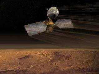 artist concept of Mars Reconnaissance Orbiter during aerobraking.