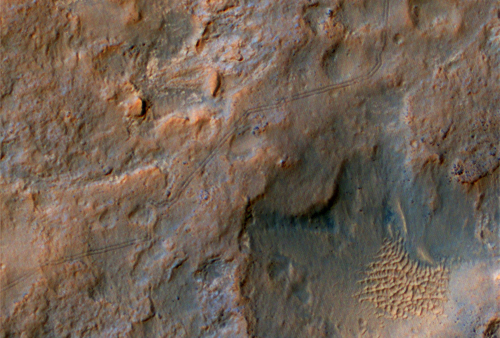Curiosity Rover Tracks, Viewed from Orbit in December 2013
