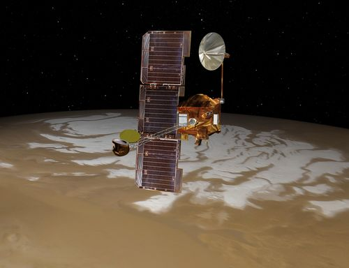 NASA's Mars Odyssey spacecraft passes above Mars' south pole in this artist's concept illustration. The spacecraft has been orbiting Mars since October 24, 2001.