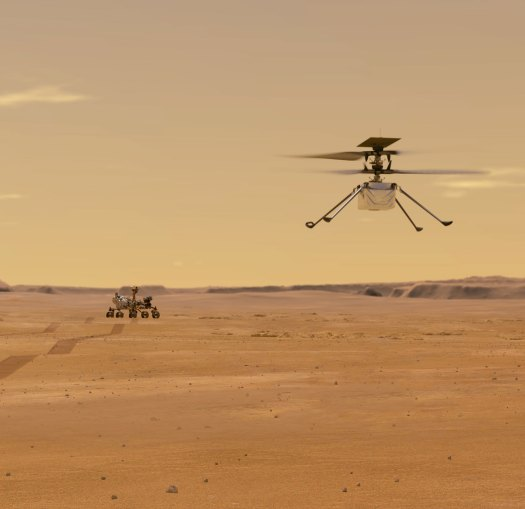 Mars Helicopter with Perseverance rover in the background