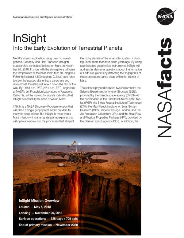 Quick Facts Mission NASAs InSight Mars Lander